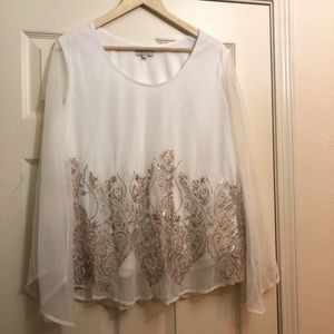 Chenault white sheer brown sequin women's blouse